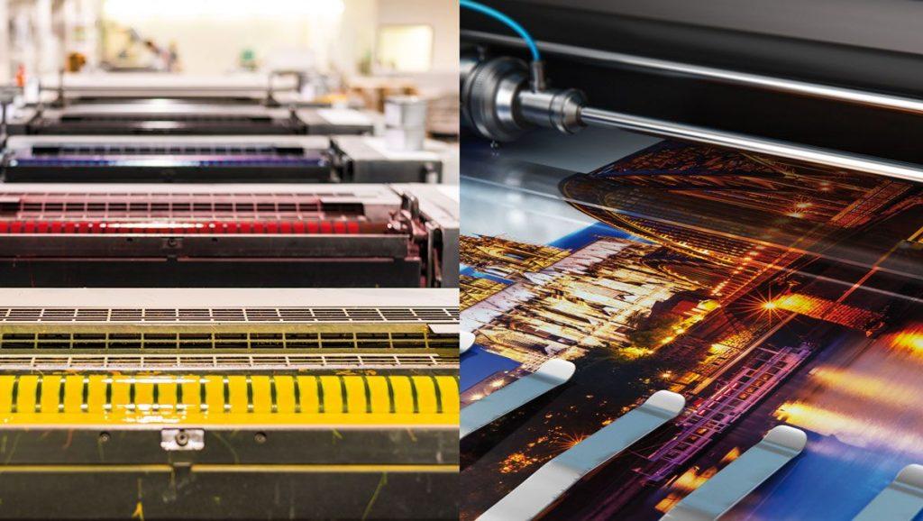 maquina imprimiendo digital y offset