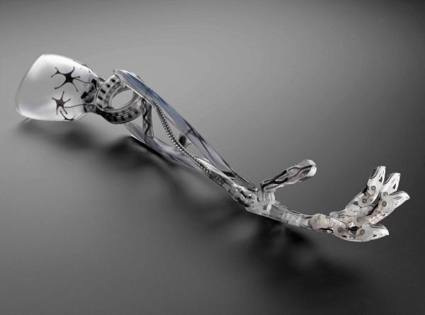 3D printed hand prototype, by Richard van As, South Africa, 2013.