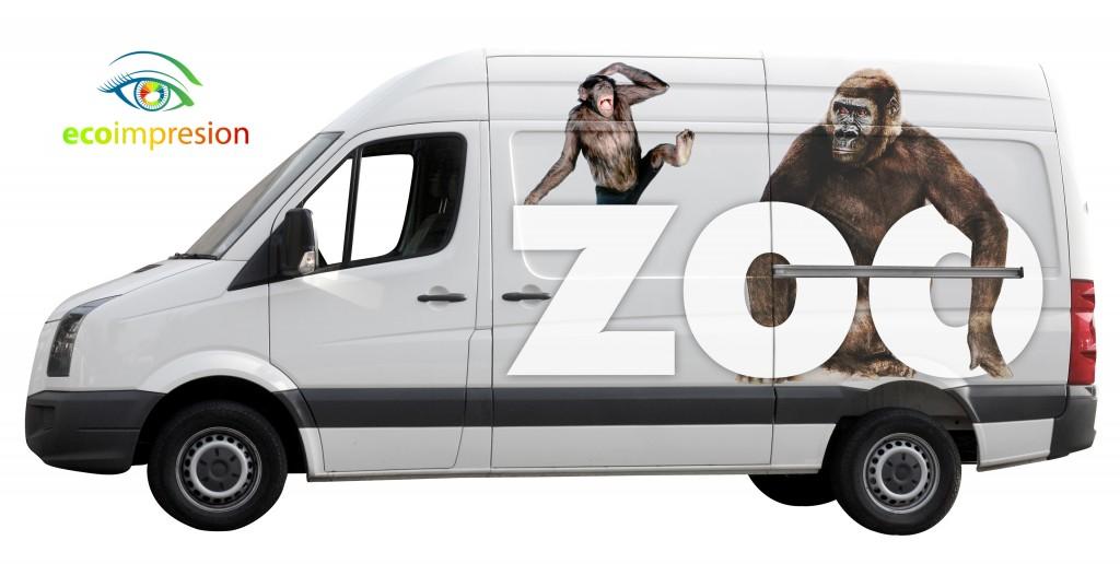 Diseño y rotulación de furgoneta de Zoológico