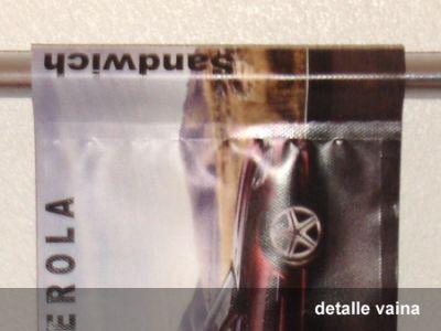 Detalle de vaina en lona para banderola de farolas