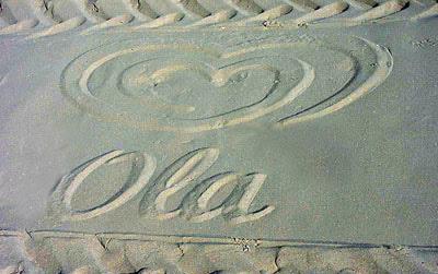 marca reproducida en la arena