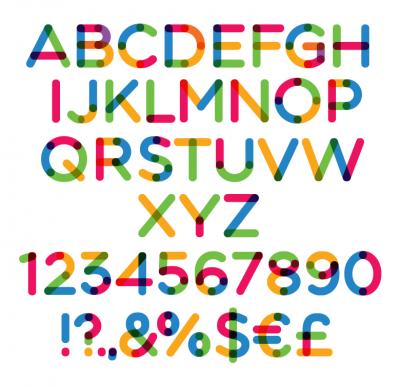 Tipografía multicolor especial para diseños con mucho color