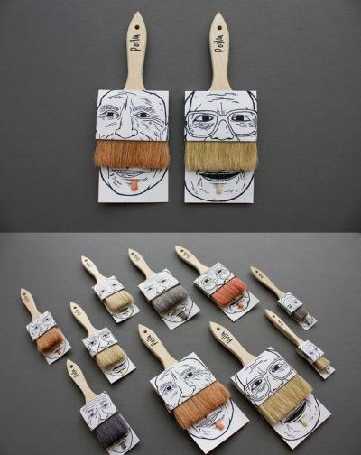 Packaging para brochas con una estética meme
