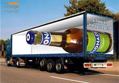 Rotulación publicitaria de vehículo con efecto optico