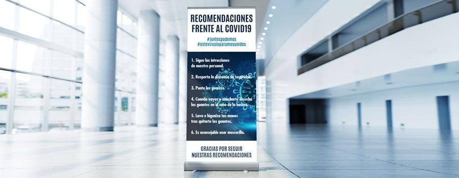 Roll up informativos para comercios y negocios prevencion corona virus